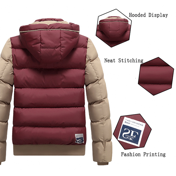 Mens Down Cotton Hooded Patchwork Warm Slim Padded Jacket
