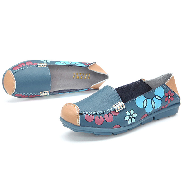Women Flats Shoes Comfortable Breathable Slip On Flower Floral Flat Loafers Shoes