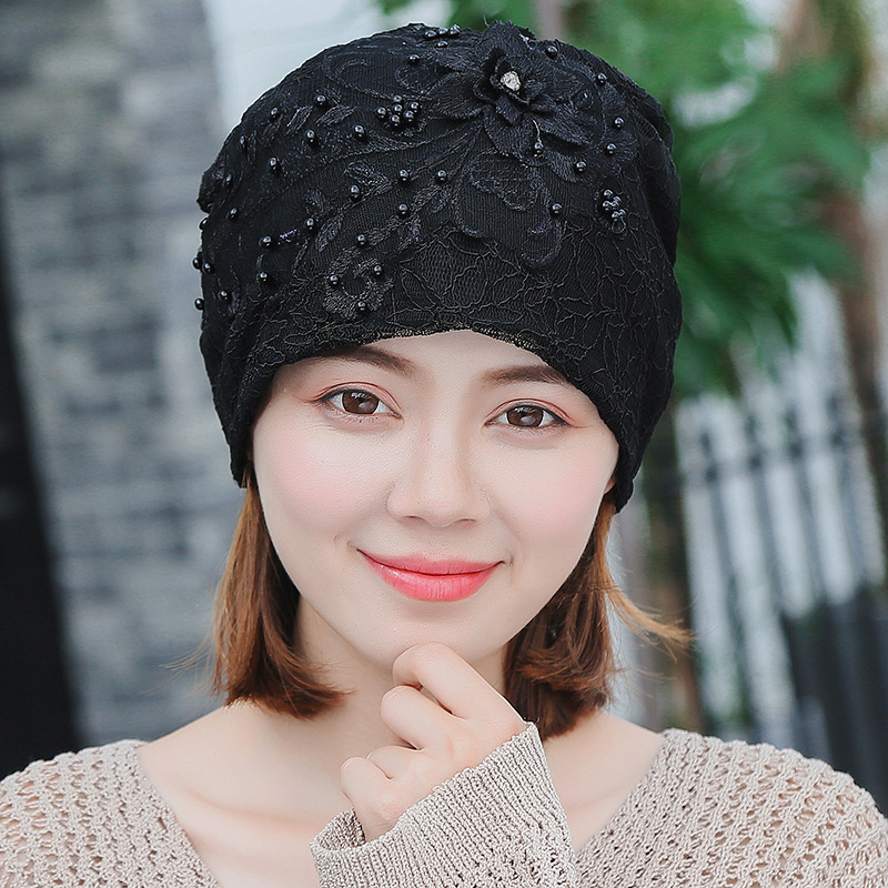 Women Fashion Lace Double Layers Chemical Beanie Cap