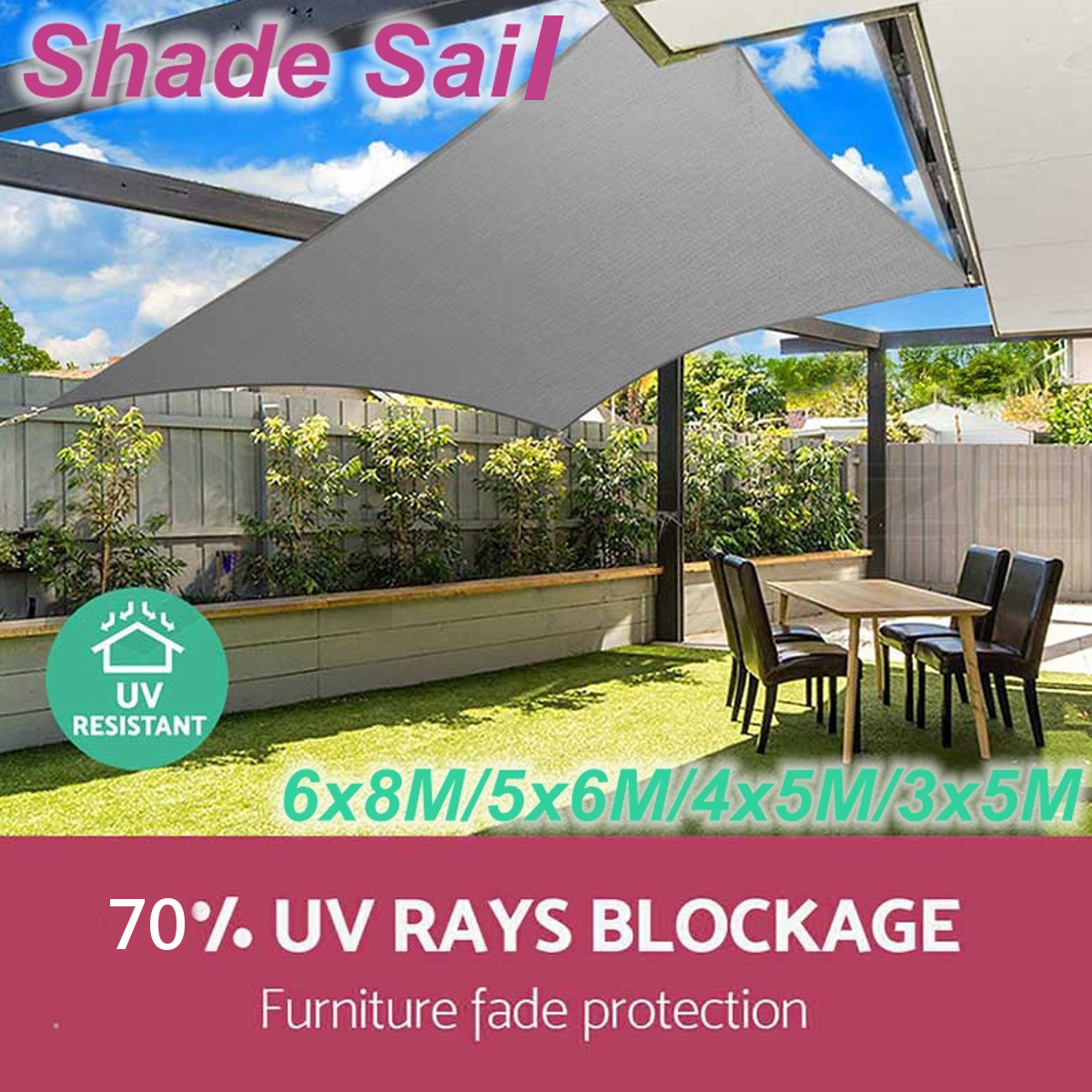 280GSM Heavy Duty Sun Shade Sail Waterproof UV Garden Patio Awning Canopy Tent Sunshade Shelter Outdoor Camping