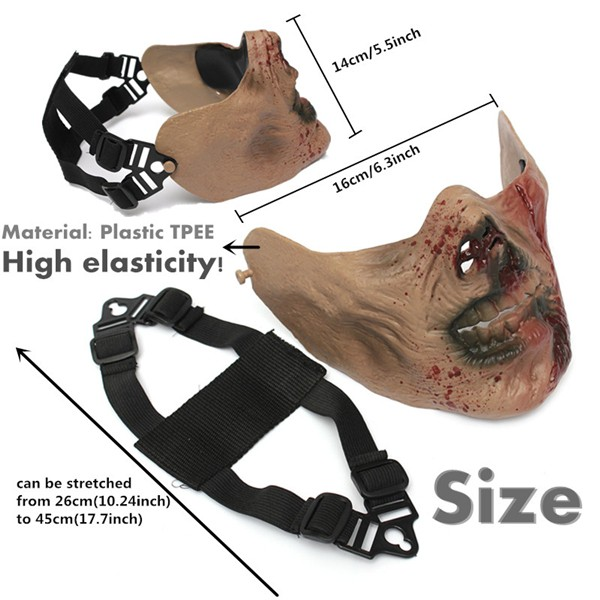 Zombie Skull Skeleton Half Face Mask Military Hunt Halloween Costume Party