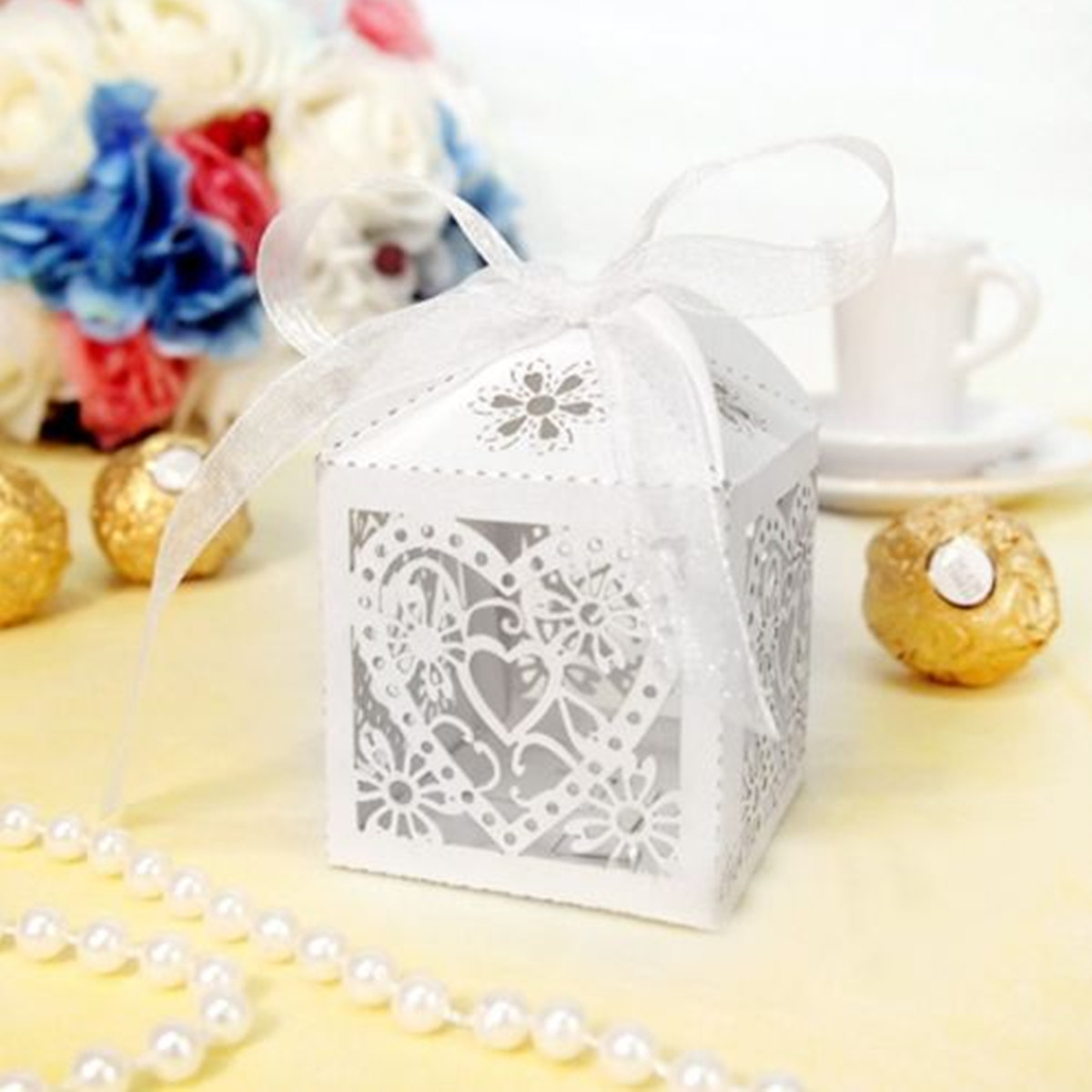 10PCS Heart Pattern Ribbon Laser Cut Hollow Out Wedding Candy Box Gift Chocolate Storage