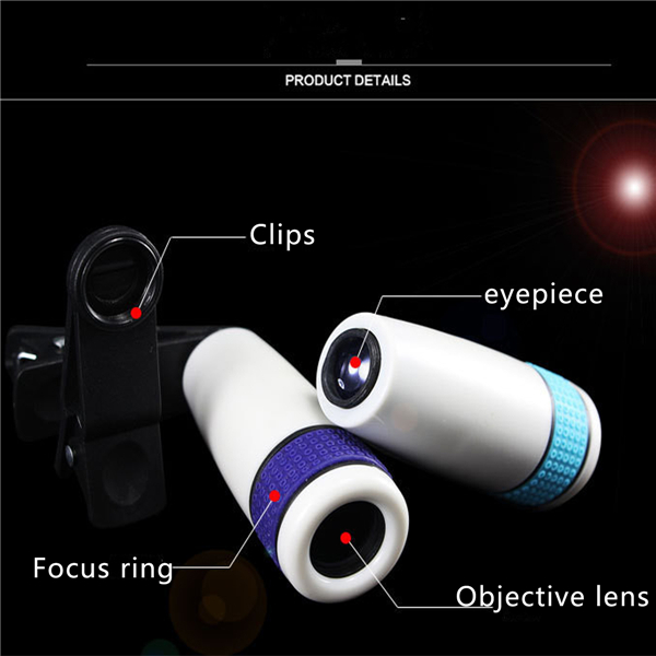 Purple 12x18 Optical Zoom HD Telescope Camera Lens Clip for Mobile Phone Tablet