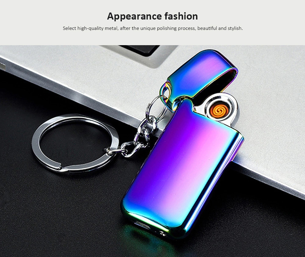 KCASA KC-703 Chargeable Double-sided Mini Electric Lighter With Keychain Windproof Electronic Lighter
