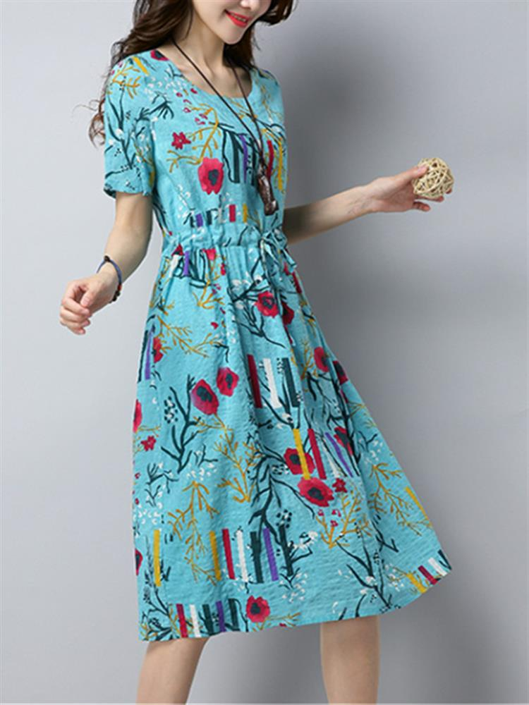 Women Vintage Print Dresses O-Neck Short Sleeve Summer Dress