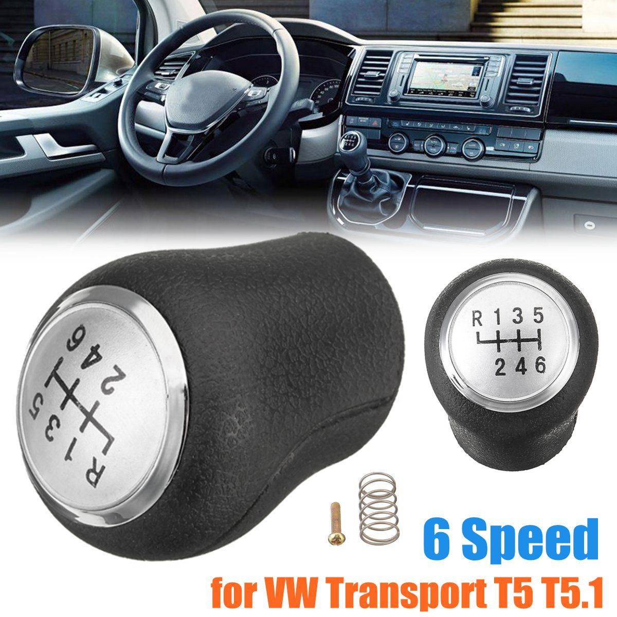 5 Speed 6 Speed Gear Shift Knob Cover Black For Volkswagen VW Transport T5 T5.1