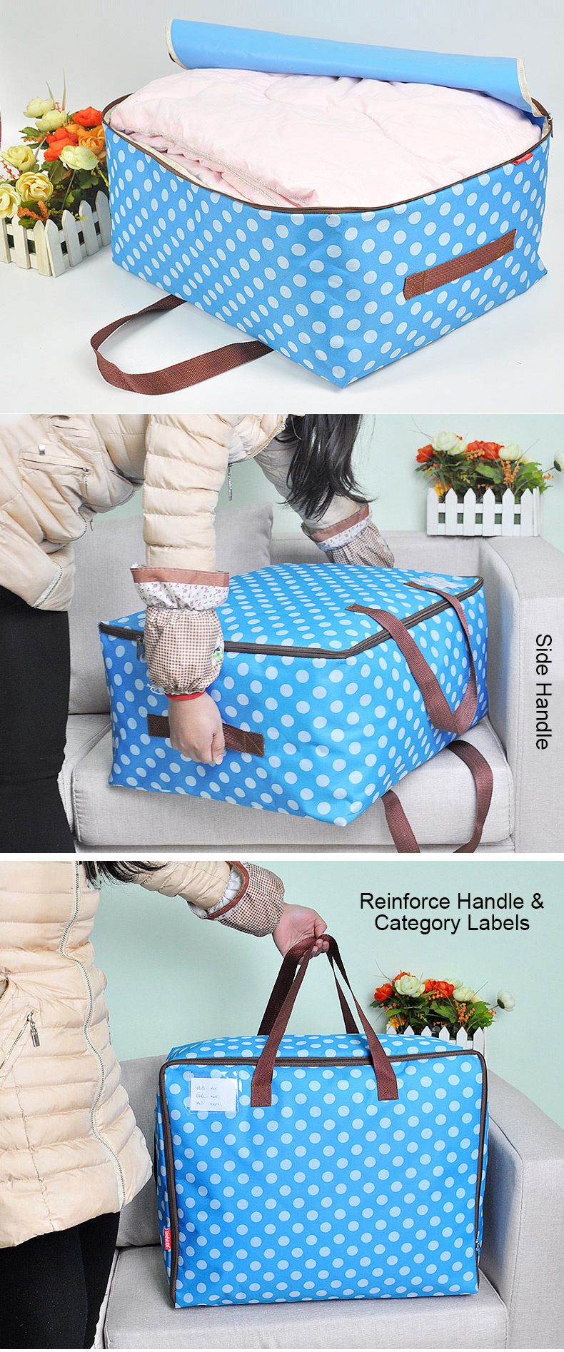 Honana HN-QB02 50L/72L/100L Large Storage Bag Fabric Clothes Bag Travel camping Bag Waterproof Quilt Organizer