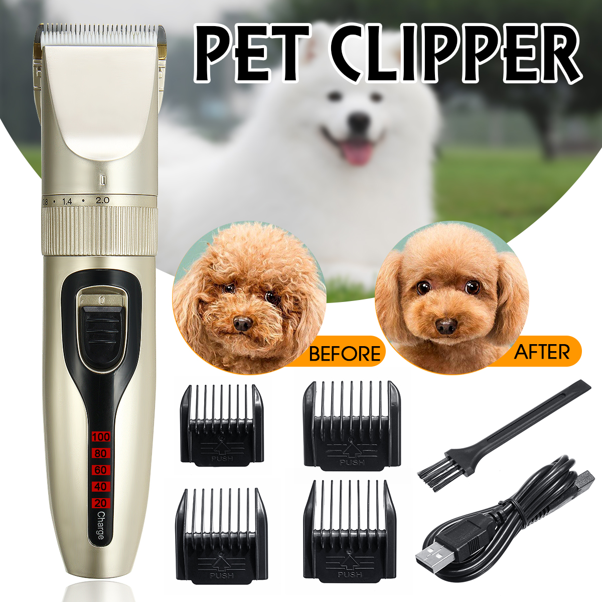 100V-240V Cat Dog Clipper Cordless Pet Clippers Hair Shaver