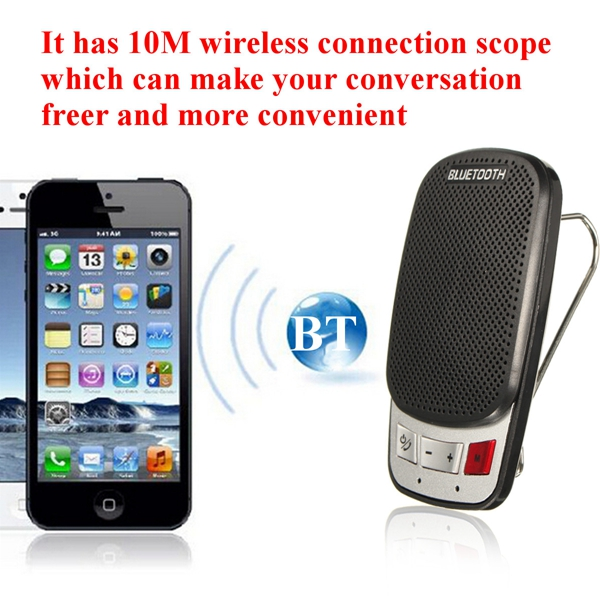 Hands Free bluetooth Wireless Car Kit Speaker Phone Sun Visor Clip Portable Slim