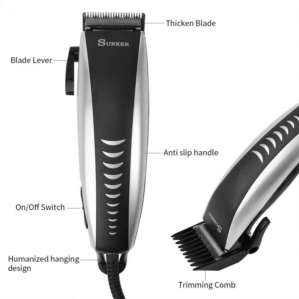 SURKER Electric Hair Clipper Trimmer Men Child Barber Hair Cutting Scissors Household Comb Brush