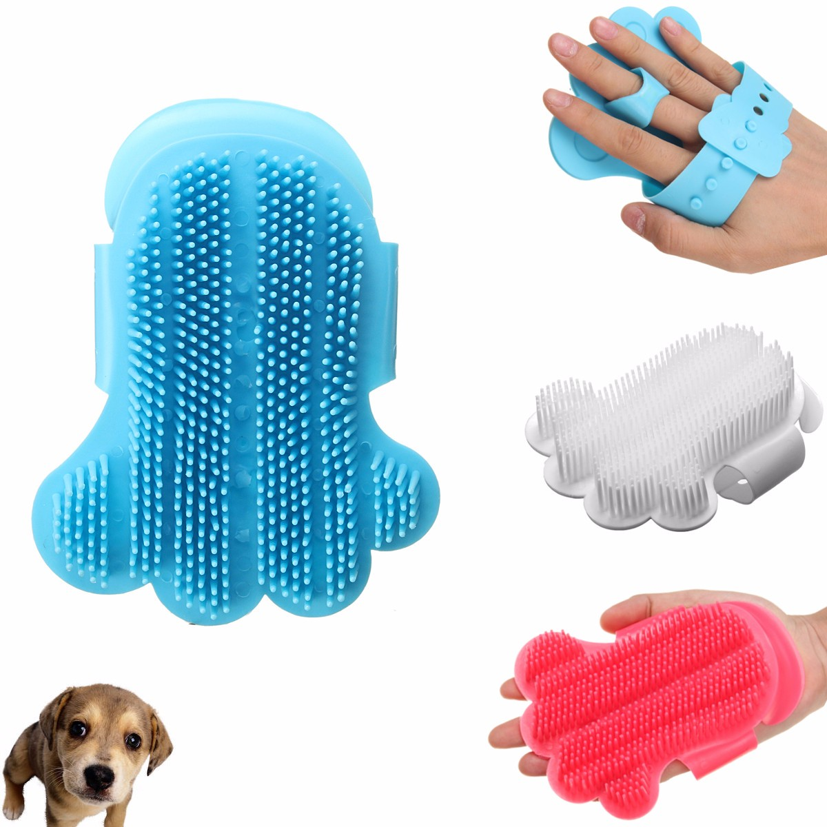 Pet Dog Cat Bath Brush Hair Fur Deshedding Cleaning Tool