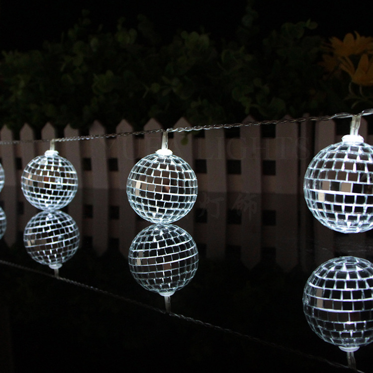1.65M 10 Leds Mirror Ball Light LED Light String Home Holiday Decor Disco Lights Party Hotel Ballroom Decorations String Lights Battery Powered String Night Lights for Christmas Home Decorations