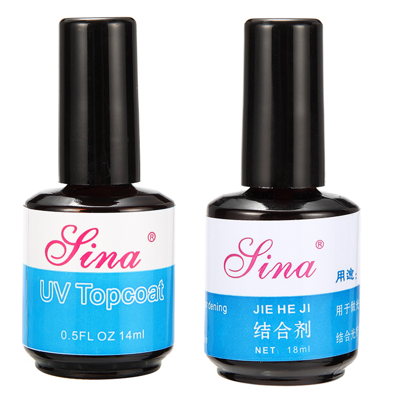Nail Art UV Gel Polish Topcoat Primer Base Set