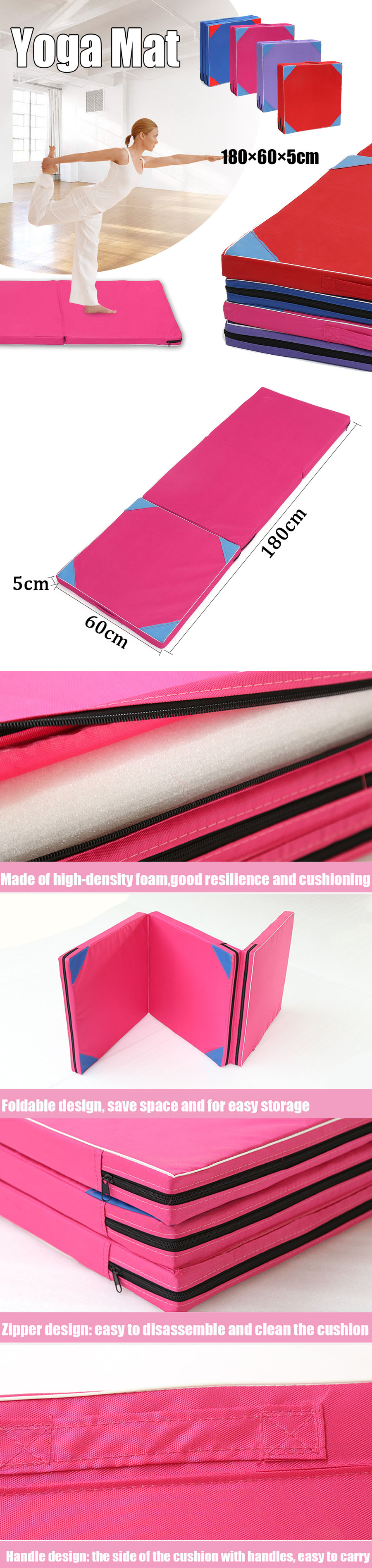 70.86x23.62x1.96inch 3 Folding Gymnastics Mat Fitness Exercise Gym Airtrack Panel Tumbling Climbing Pilates Pad Air Track