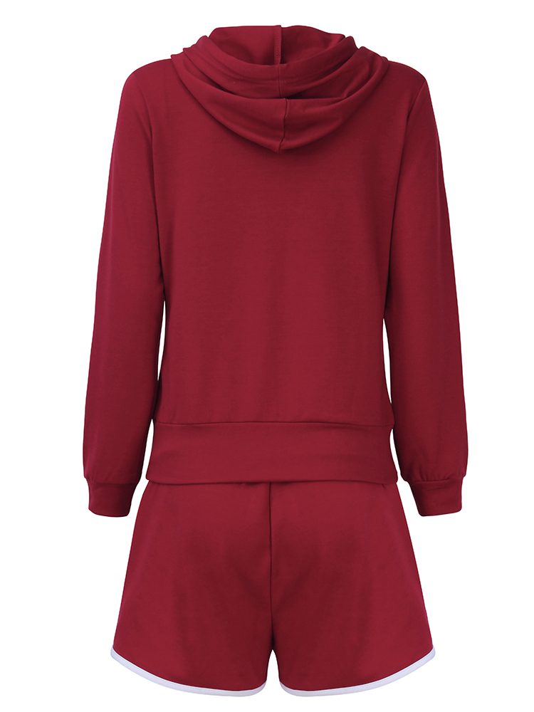 Casual Women Zipper Hooded Sweatshirt Sets