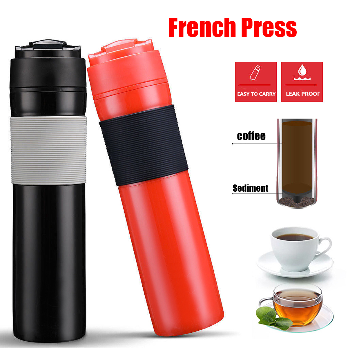 French Press Travel Mug Portable Coffee Maker Drink Water Cup Bottle