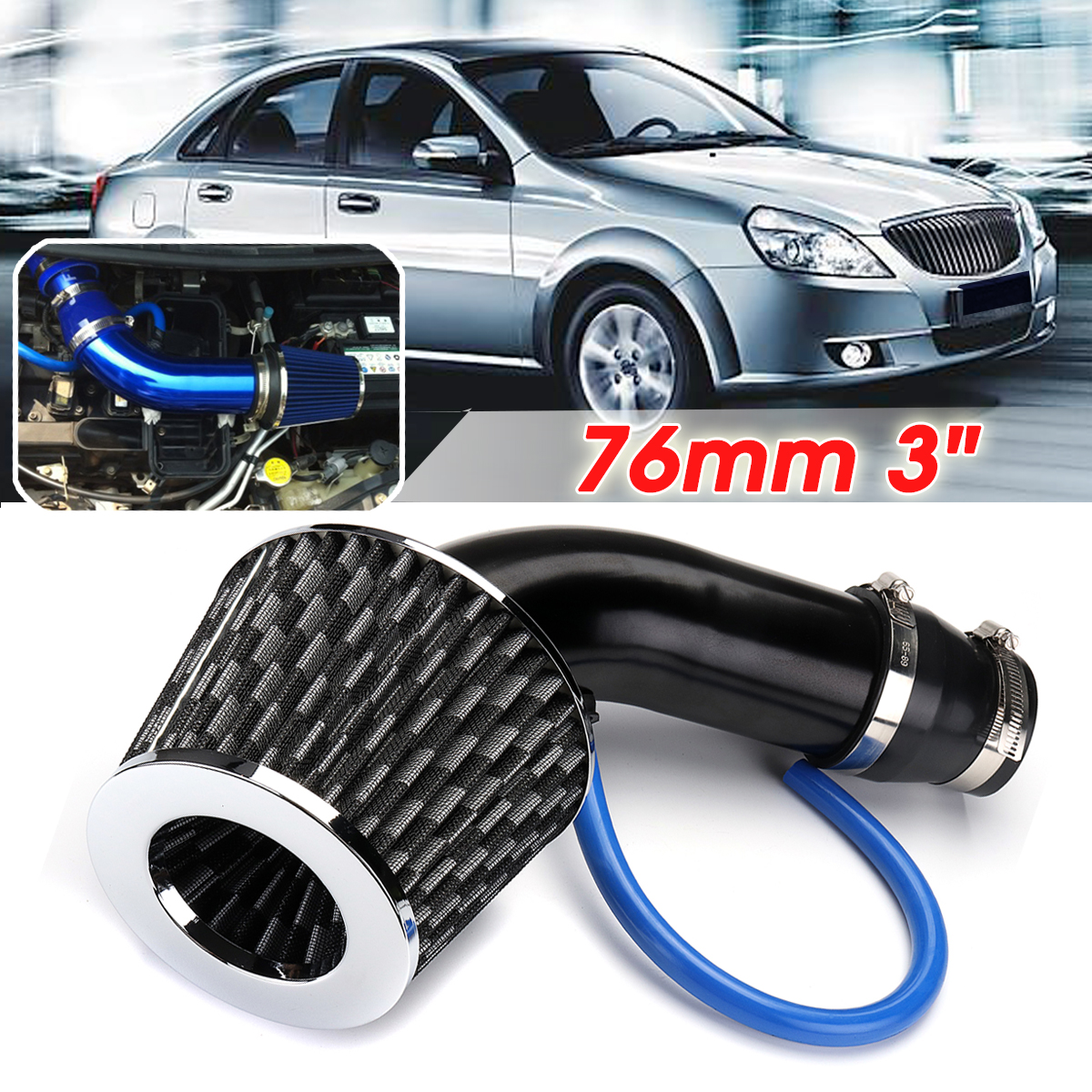 76mm 3 Inch Universal Car Cold Air Intake Filter and Alumimum Induction Kit Pipe Hose