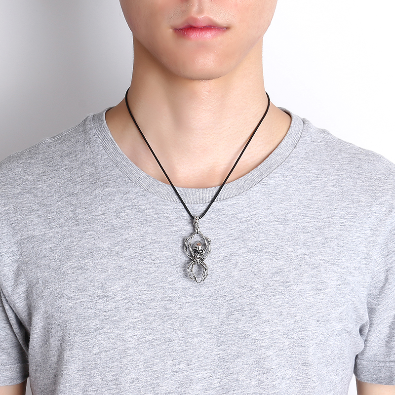 Retro Double Skull Zinc Alloy Chain Punk Spider Pendant Necklace for Men