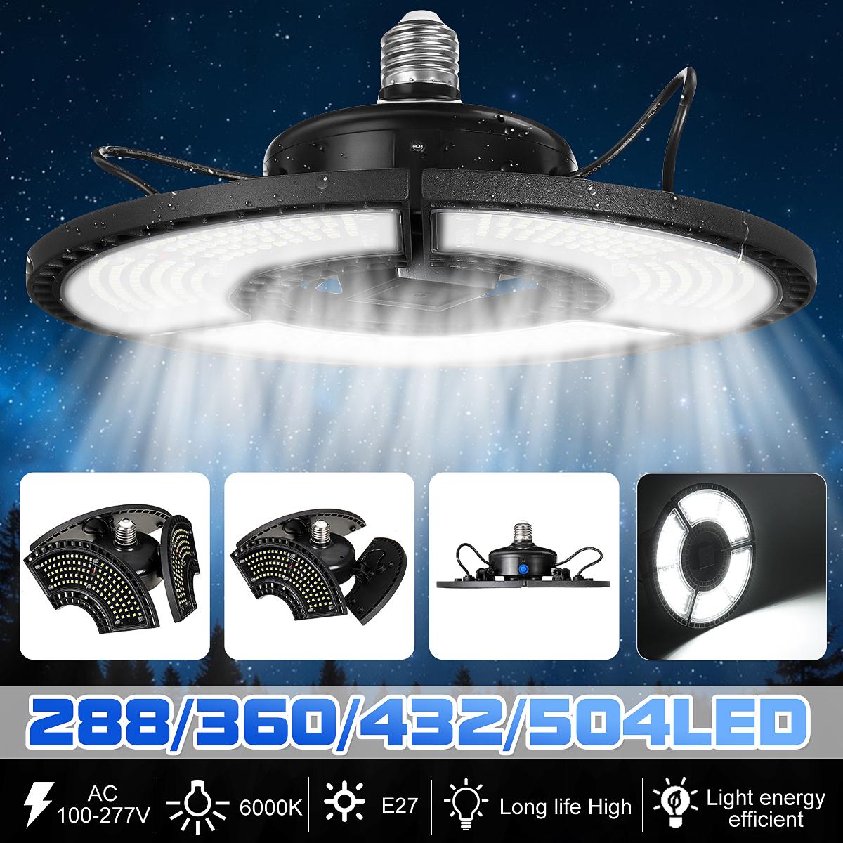 288/360/432/504LED Foldable E27 Garage Light Deformable Ceiling Light IP68