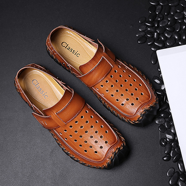 Men Breathable Hollow Outs Genuine Leather Hook Loop Oxfords