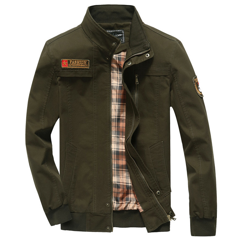 Mens Autumn Winter Military Cargo Casual Cotton Stand Collar Zipper Jacket