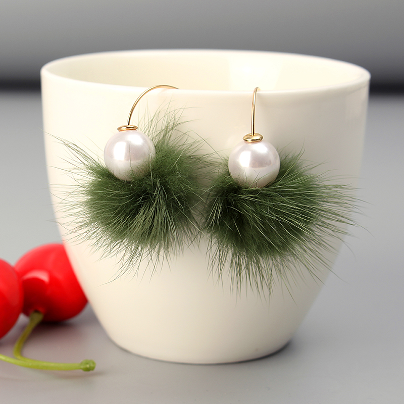 Fuzzy Ball Ear Drop Artificial Pearl Cute Earrings