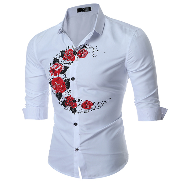 Mens Button up Rose Printing Slim Fit Long Sleeve Designer Dress Shirt