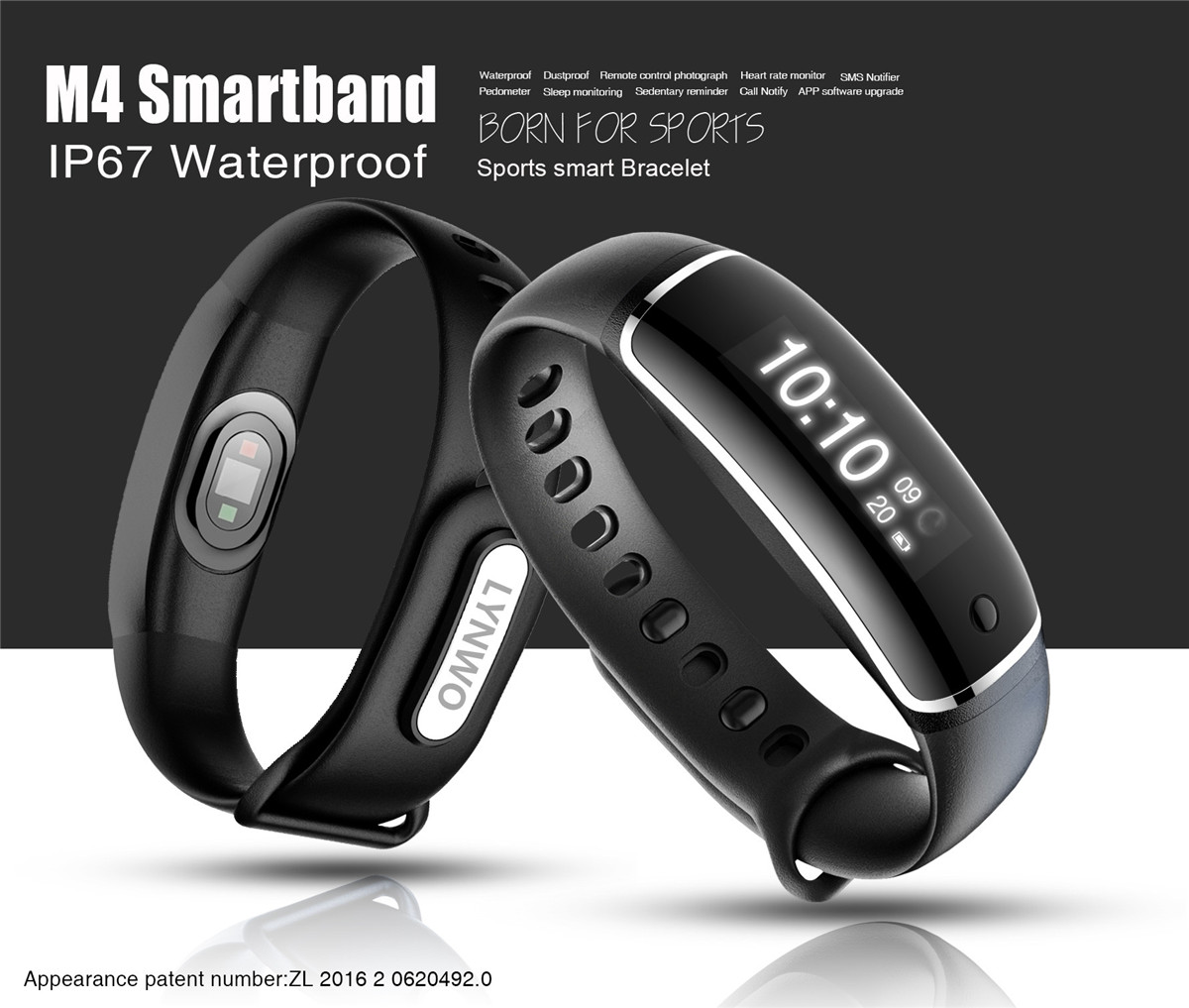 Bakeey M4 Smart Wristband Bracelet Heart Rate Monitor bluetooth 4.0 For Android/ iOS