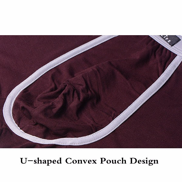 ZK Mens Soft Cozy Breathable U-shaped Convex Pouch Underwear Boxers