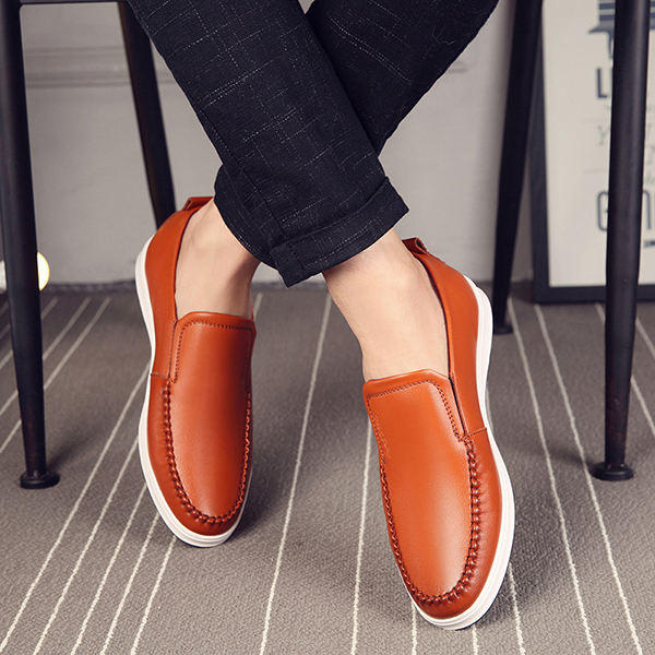 Men Casual Comfy Genuine Leather Flats Oxfords