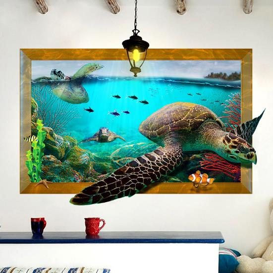 3D Sea Turtle Living Room Bedroom Animals Floor Home Background Wall Decor Creative Stickers