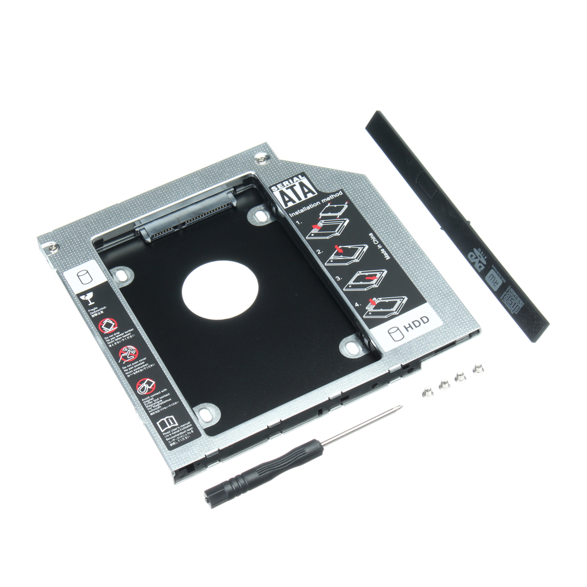 9.5mm Universal SATA 2nd HDD SSD Hard Drive Caddy for CD/DVD-ROM Optical Bay