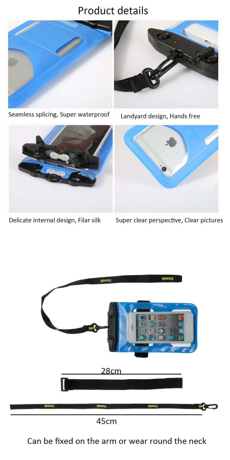 20M Waterproof Under Water Case Cover Bag Armband Dry Pouch For iPhone 5S 5 Samsung HTC Mobile Phone