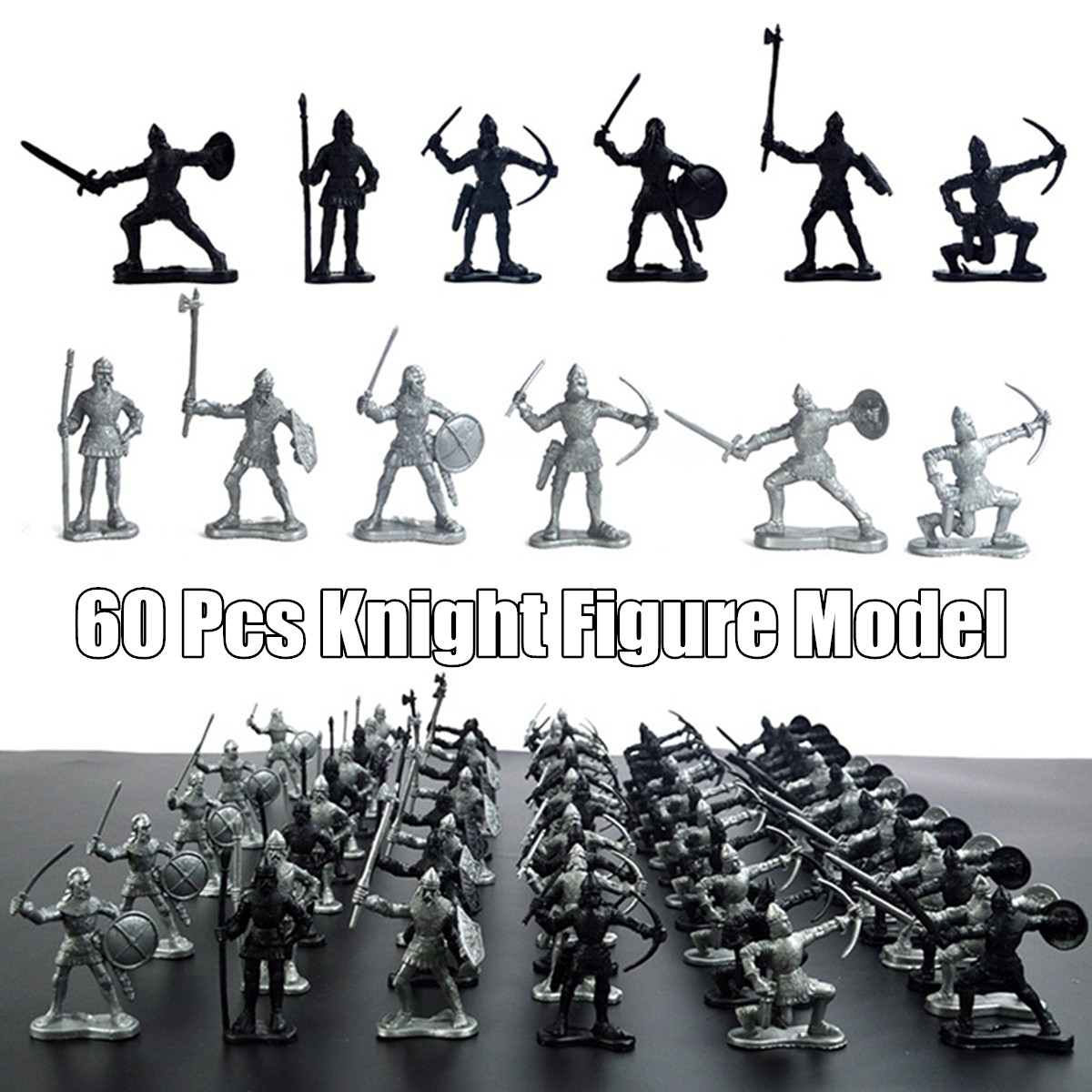60 Pcs Set Medieval Military Knights Warriors Kids Toy Soldiers Figure Model Decorations
