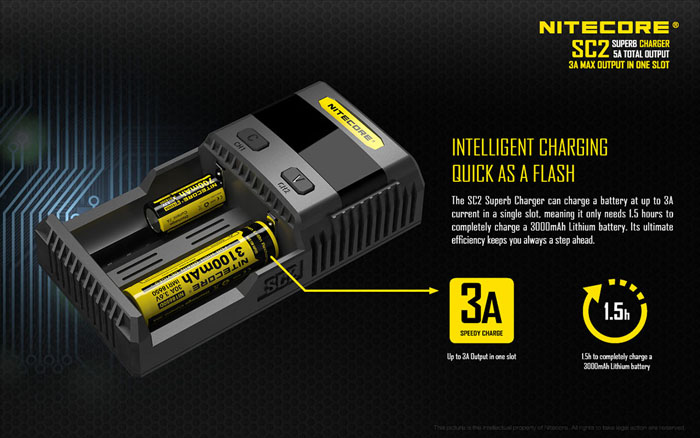 Nitecore SC2 3A Intelligent Superb Battery Charger For Li-ion/IMR/LiFePO4/Ni-MH Battery