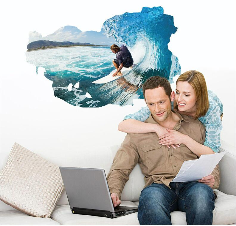 Miico 3D Creative PVC Wall Stickers Home Decor Mural Art Removable Surfing Wall Decals