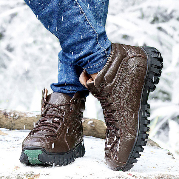 Men Soft Leather Wear Resistance Outsole Fur Lining Outdoor High Top Boots