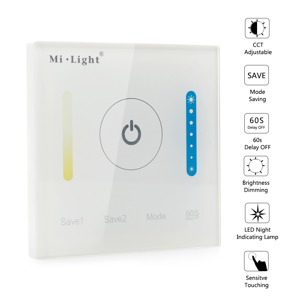 P2 Mi Light Touch Switch Panel LED Dimmer Controller for Strip Lighting