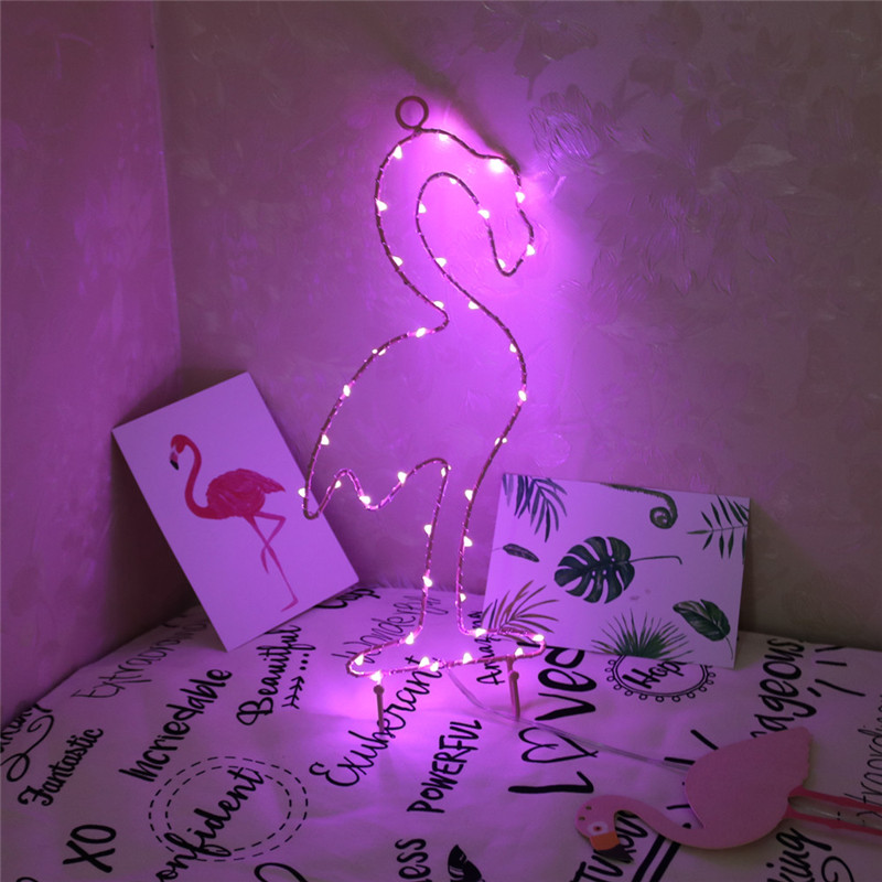 Fashion Pink Iron Flamigo Night Light On Wall Simple Fashion Lamps Lights Indoor Decoration For Party Led String Lights for Christmas Wedding Festoon Party