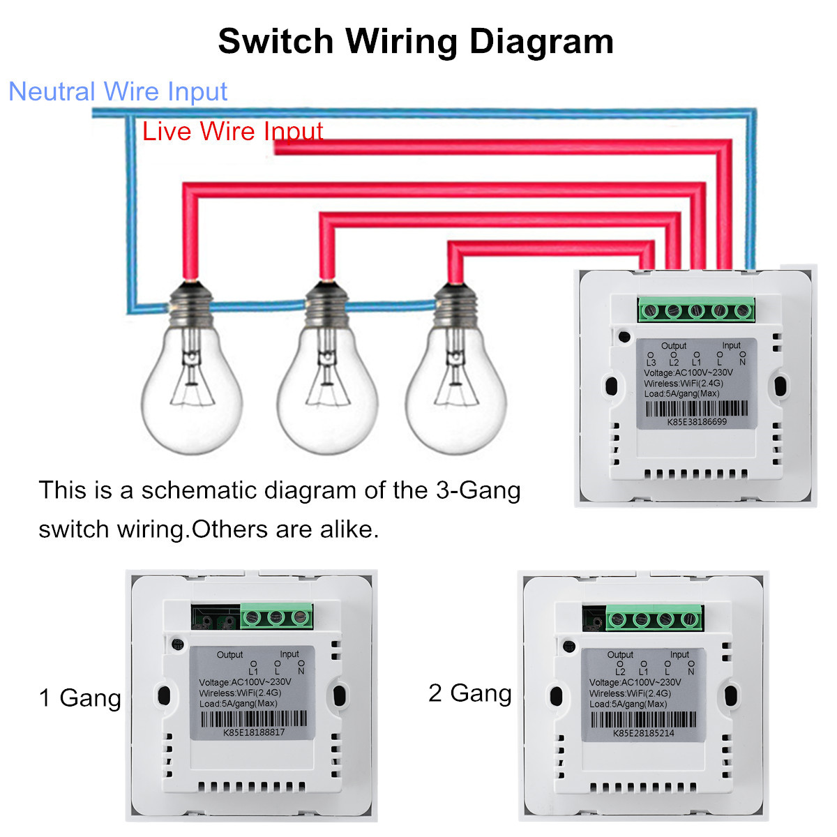 1 2 3 Gang Smart Wall Light Switch Panel Wifi App Control Touch 4 Wiring Diagram Shipping Methods