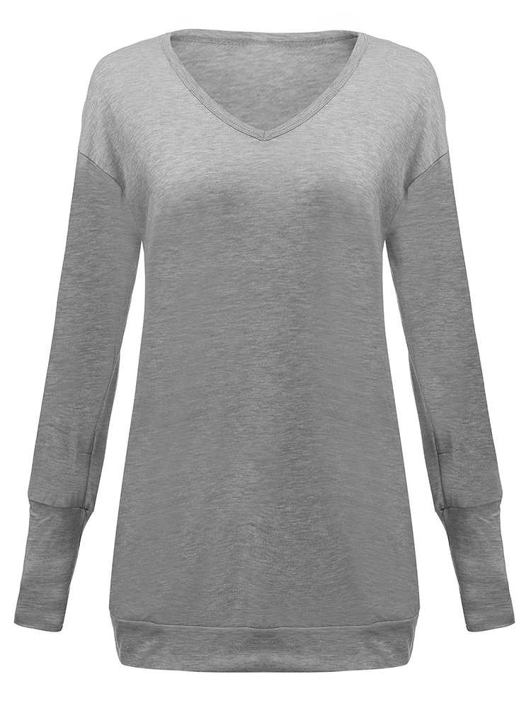 Casual Women Long Sleeve V Neck Long Tops T-Shirt