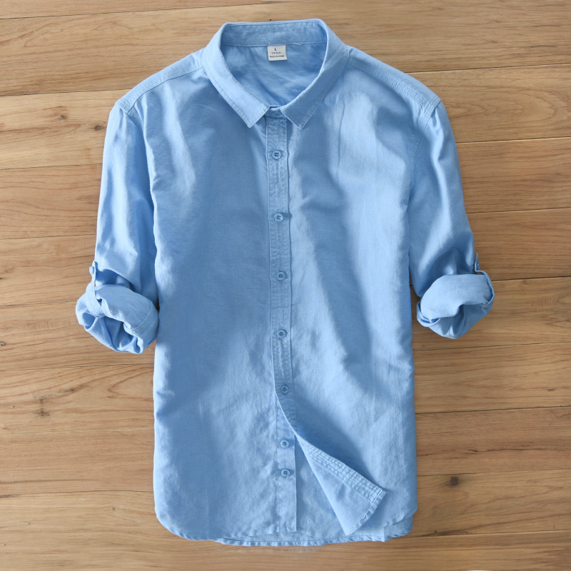 TWO-SIDED Mens Solid Color Busniess Casual Cotton Shirts