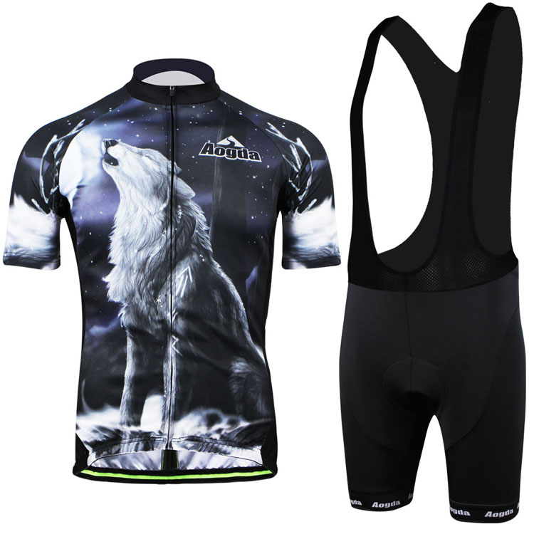 Personalized Pattern Men Short Sleeve Breathable Jerseys and Bib Shorts Bike Wear Aogda Bicycle Kit