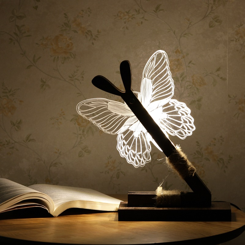 KCASA Creative Butterfly 3D Night Light LED Wood Art Acrylic Table Lamp Home Decoration Lighting