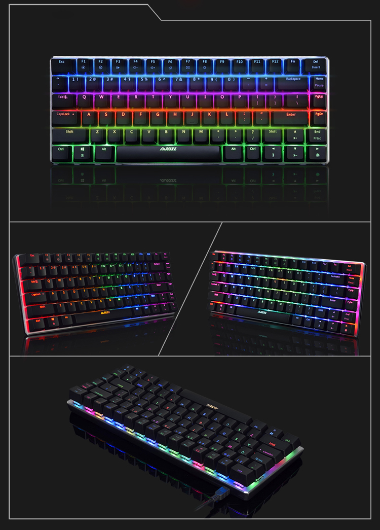 AJazz AK33 82 Keys RGB Backlit Detachable USB Wired Mechanical Gaming Keyboard