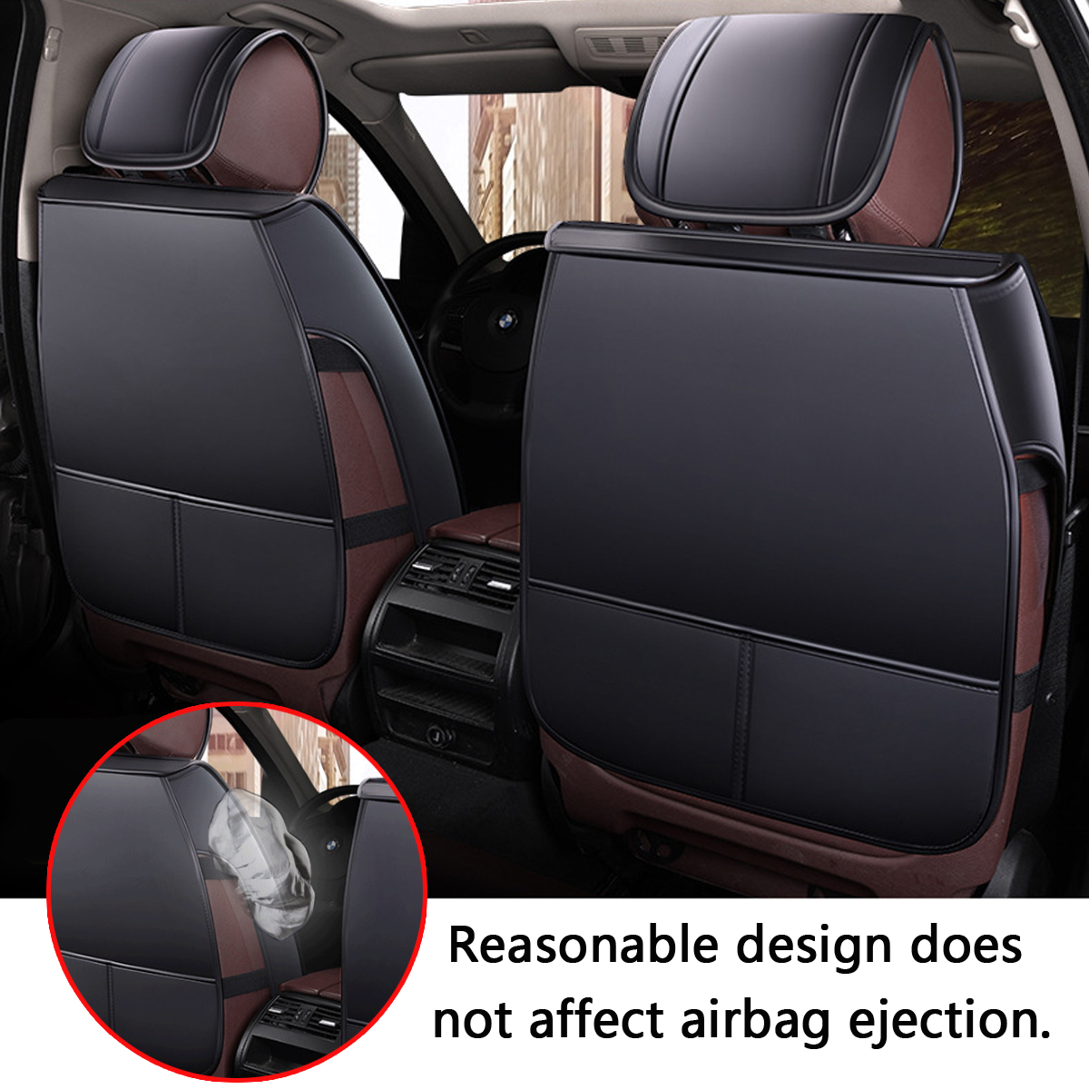 13Pcs PU Leather Car Full Surround Seat Cover Cushion Protector Set Universal for 5 Seats Car
