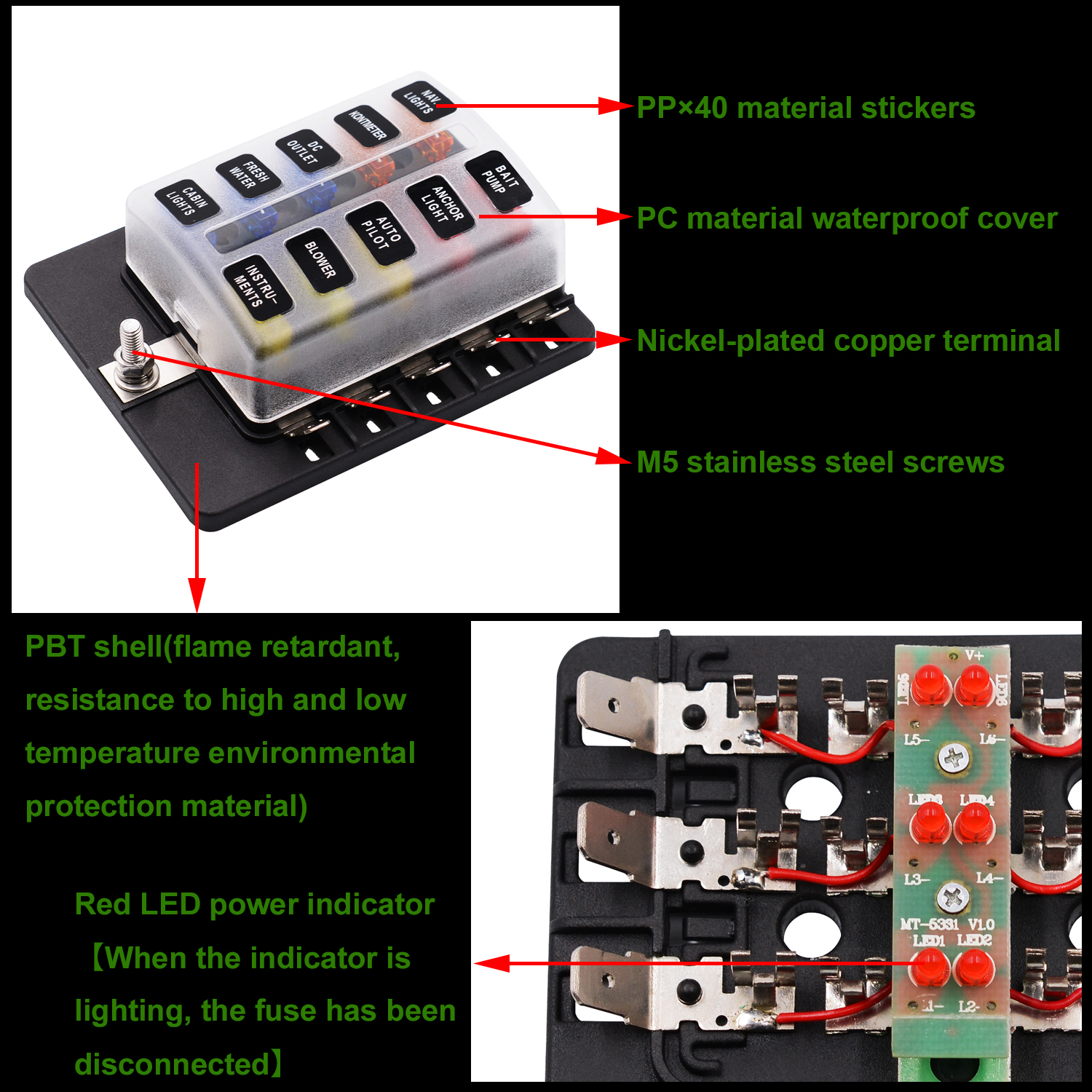 Imars Cs 579b3 10 Way Blade Fuse Box Holder With Led Warning Light Lights For