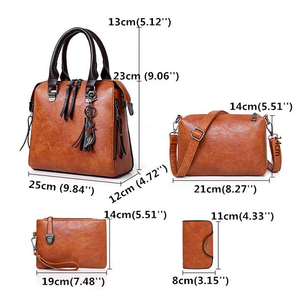 4 PCS Women Faux Leather Elegant Handbag Crossbody Bag
