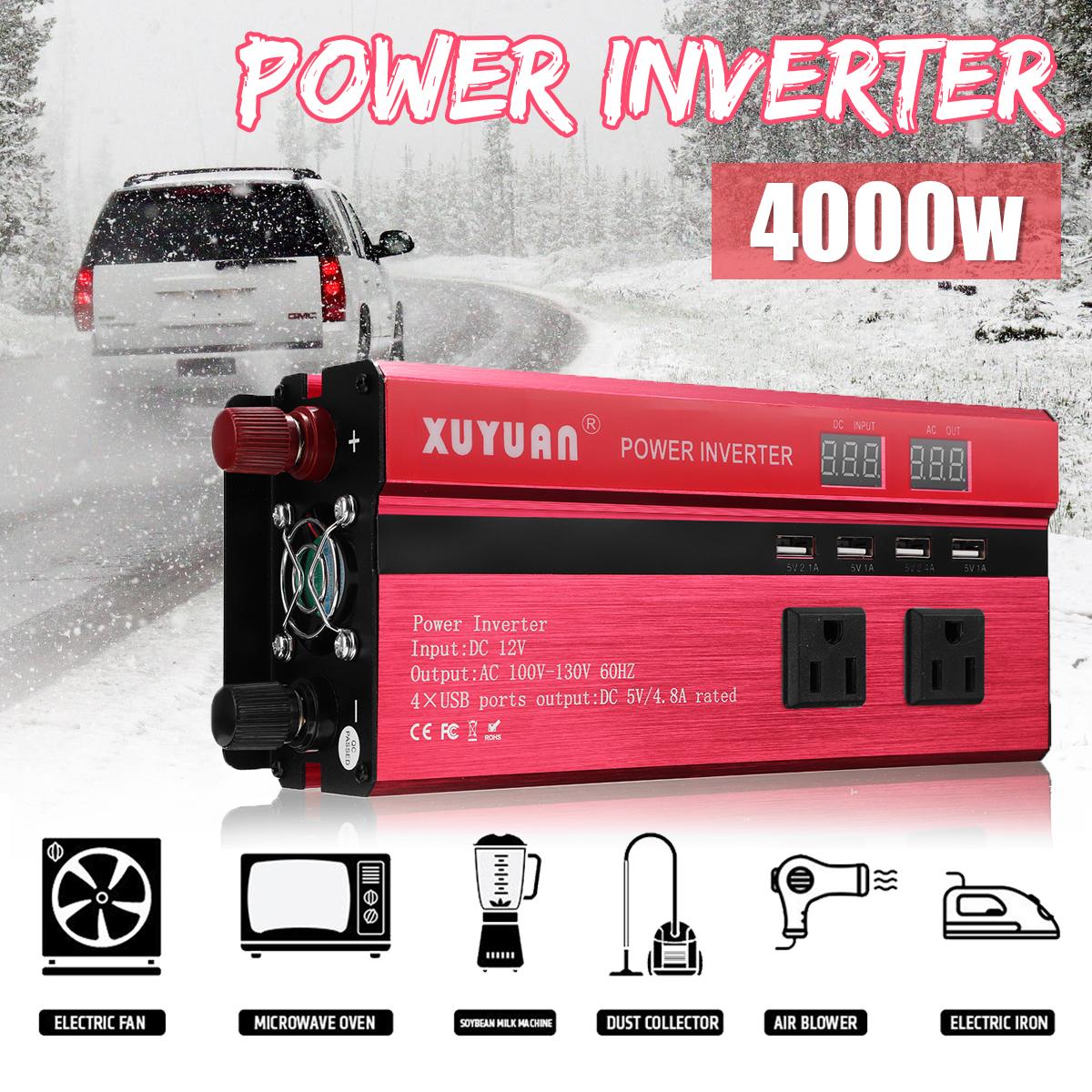 4000W 12V/24V DC to 110V/220V AC Solar Power Inverter LED Modified Sine Wave Converter
