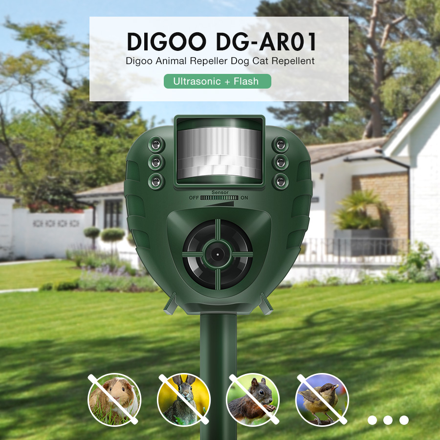 Digoo DG-AR01 PIR Ultrasonic Animal Repeller Dog Cat Insect Flash Light Repellent Outdoor Garden Expeller